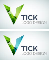 Tick logo design made of color pieces