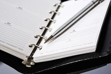 Tagebuch und Kugelschreiber , erhöhte Ansicht