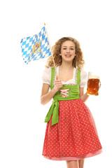 Mädchen im Drindl mit Maßkrug und Bayern fahne