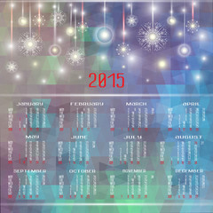 Vector calendar for 2015. Happy New Year