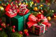 Leinwandbild Motiv Christmas gift boxes