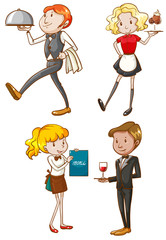 Simple sketches of the waiters and waitresses