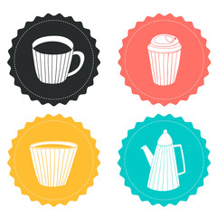 Set of vector badges with hand drawn cups and teapot