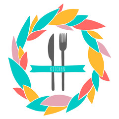 Cute cutlery in the colorful wreath. Hand drawn illustration