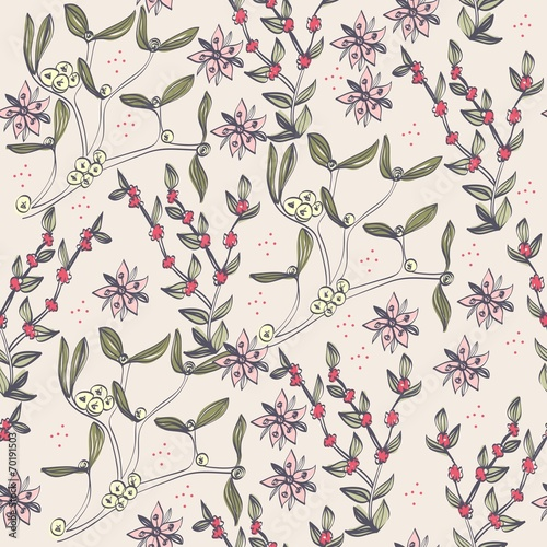 Cotton fabric Floral background