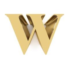 Golden matt letter W on white background