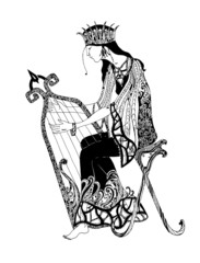 Graphic black and white illustration. A woman playing the harp