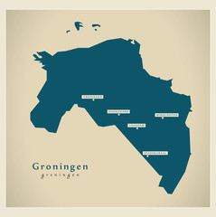 Moderne Landkarte - Groningen NL