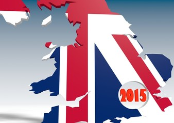 united kingdom 3d map with 2015 year number in hole