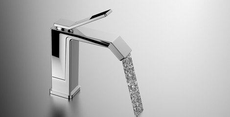 moder faucet with water flow out