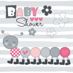 caterpillar baby shower vector illustration