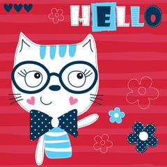 cute cat with flower vector illustration