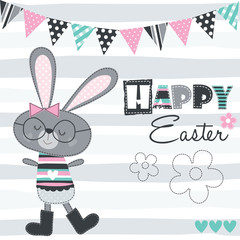 happy easter bunny vector illustration