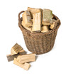 canvas print picture - Weidenkorb gefüllt mit Brennholz