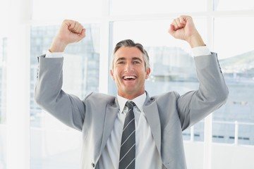 Businessman celebrating a good job