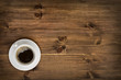 Coffee cup top view on wooden table background - 70192952