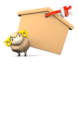 Blank Votive Picture And Smile Sheep With Text Space