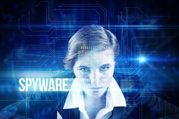 Spyware against blue technology interface with circuit board