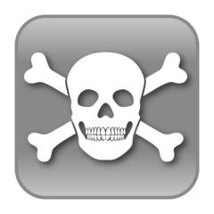 Grauer, quadratischer Button für Piraterie, Vektor, freigestellt