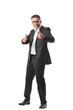 Mann im Anzug in bestimmter Körperhaltung mit Gesik