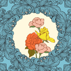 Abstract decoration vintage background and roses