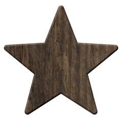 Holzstern aus rustikalem, dunklen Holz  – freigestellt