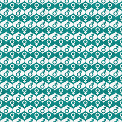 Teal and White Male and Female Gender Symbol Repeat Pattern Back