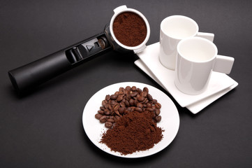Plate with coffee, espresso coffee holder and two cups
