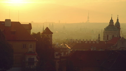 View of the Prague city, Czech republic, panorama in the morning