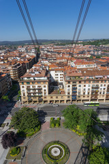 View of roofs from Getxo from Bizkaia suspension bridge