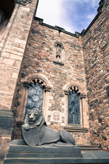 Wide viewof stone lion in Edinburgh castle, closeup