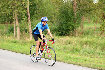 male cyclist on a race bike