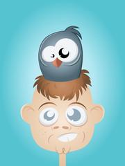 vogel nest kopf lustig sitzen haare