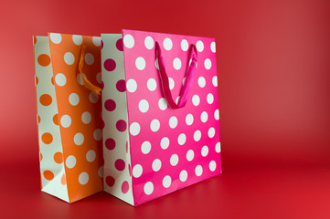 Pink and orange polkadot gift bags