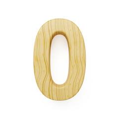 Wood digit zero symbol - 0