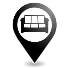 canapé sur symbole localisation noir