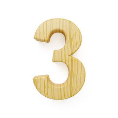 Wood digit three symbol - 3