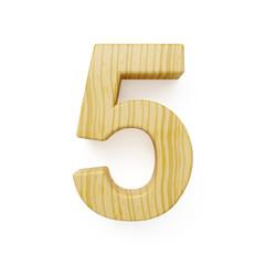 Wood digit five symbol - 5