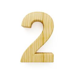 Wood digit two symbol - 2