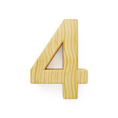 Wood digit four symbol - 4