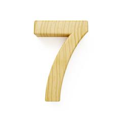 Wood digit seven symbol - 7