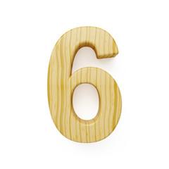 Wood digit six symbol - 6