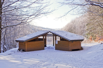 Shelter covered by snow