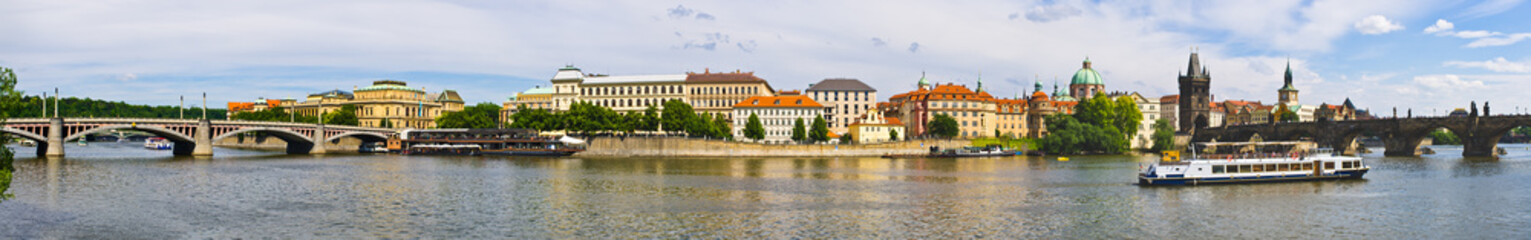 Panoramic view on Vltava in Prague, Czech Repubic