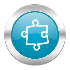 puzzle internet blue icon