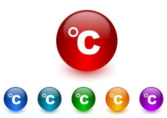 celsius internet icons colorful set