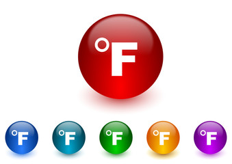 fahrenheit internet icons colorful set