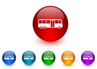 bus internet icons colorful set