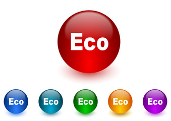 eco internet icons colorful set