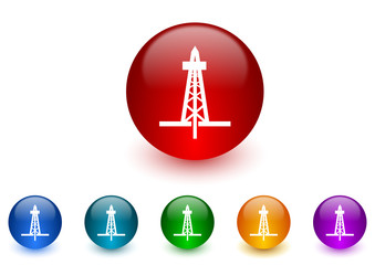 drilling internet icons colorful set